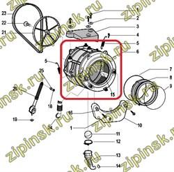 Бак с барабаном в сборе Indesit C00285584 - фото 10678