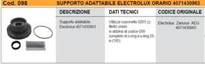 Суппорт СМА Electrolux Zanussi резьба по часовой стрелке, напротив шкива, подш-6203, сальн.V-RING cod098 зам. EBI098, 4071430963, 4071374096, SPD002ZN, ZN5819