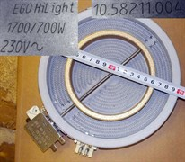 Конфорка стеклокерамика HiLight 2х зонная D=200/125mm 1700/700W EGO 10.58211.004 зам. 10.58213.004, 377912, UNV377912, COK050UN, COK052UN, G598265, 3740754217, 481281718742 C00377912
