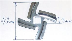 Нож мясорубки BRAUN 4195, Vitek, Panasonic посадка 10мм 7000899 зам. MM0108W, MGR105UN, MM0108W, AMM12C-180, N435, MGR100BR, br.7000899, br7000899